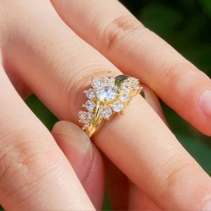 New 18k gold Plated S925 white sapphire ring